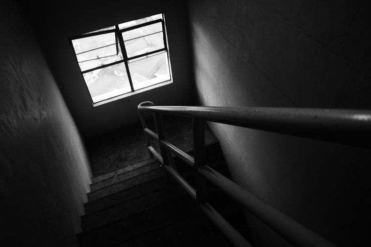 Blackandwhite Blackandwhite Photography Day Exit EyeEm Black&white! Hand Rail Indoors  Low Angle View No People Railing Silent Staircase Stairs Steps Steps Steps And Staircases Window EyeEmNewHere Eyeem Market EyeEm Gallery Eyeem Philippines The Architect - 2017 EyeEm Awards