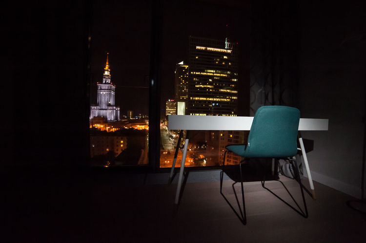 Work place inside Cosmopolitan building Absence Architecture Auto Post Production Filter Building Exterior Built Structure Chair City City Life Cosmopolitan Desk Empty Glowing Illuminated Indoors  Light Night Pkin Speed Table