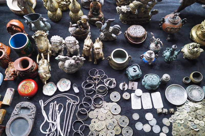 High Angle View Of Objects On Table At Shop For Sale