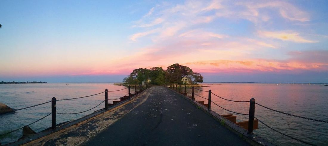 Beatiful Island Bridge Bridge Sunsets Calm Connecticut Island Sunset Private Island Stamford Sunset Tranquil Scene Water
