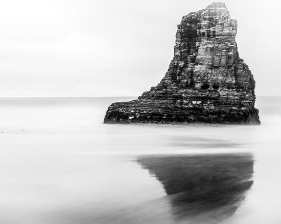 A rock in the sea Black And White Long Exposure Copy Space Water Sky Sea Beauty In Nature Nature No People Land Horizon Over Water Tranquility Rock - Object Scenics - Nature Waterfront Tranquil Scene Rock Formation Horizon Outdoors Rock Solid Beach Day