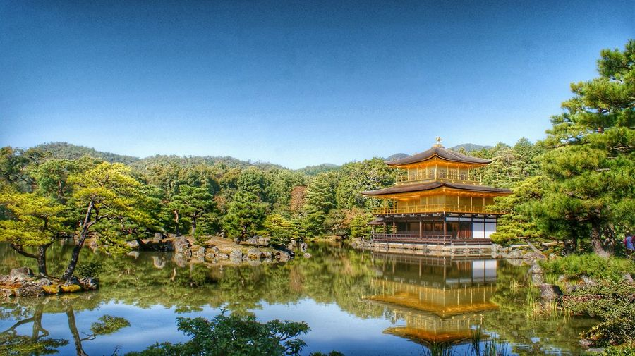 Reflection Of Kinkaku-Ji And Trees In Lake Against Clear Sky