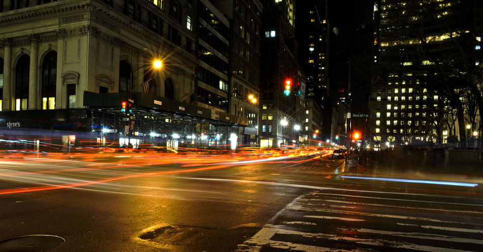 5th Ave 5th Avenue, NYC Building Exterior City City Street Illuminated Light Trail Long Exposure New York City Night NYC NYC Photography Street Street Light Transportation USA