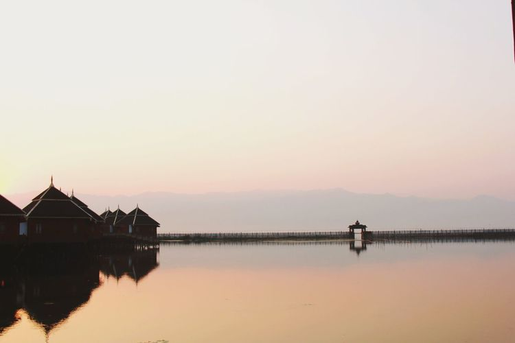 The Gate Water Sunset Clear Sky Lake Stilt House Silhouette Dawn Reflection Sky Architecture
