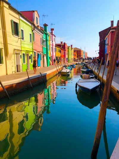 Life in technicolor Building Exterior Water Built Structure Architecture Reflection Nautical Vessel Sky Transportation Mode Of Transportation Nature Building Canal City Waterfront Residential District Day Clear Sky Moored House No People