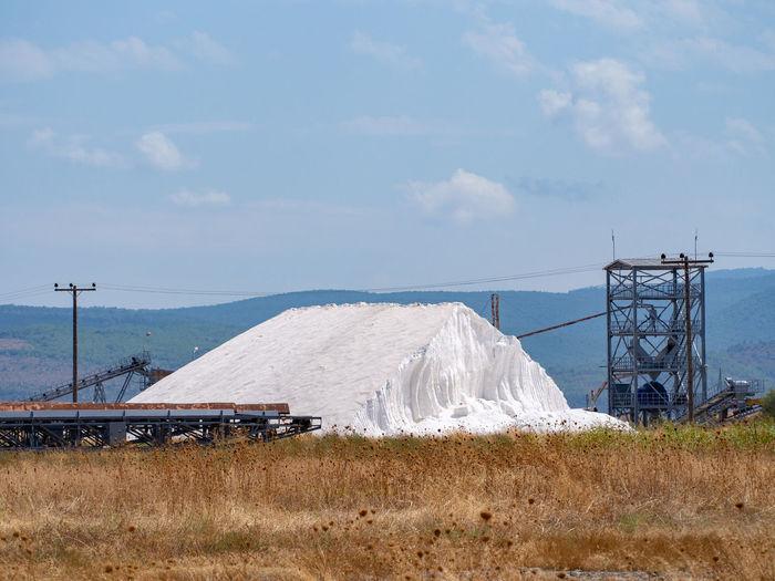 Salt mining on Lesbos island Salt Salt Mining Lesbos Lesvos Greece White Hill Landscape Environment Land Outdoors Travel Mineral Salt - Mineral Salt Mine Industry Greek