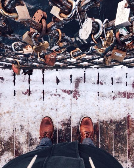 Locked Shoe Low Section One Person Human Leg Real People Outdoors Adventure Human Body Part Locks