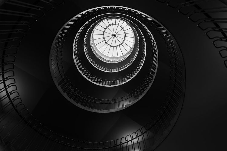 No People Architecture City Cityscape Abstract Modern Design Copenhagen Denmark Façade Facades Urban Wide Angle Long Exposure Shape Art Geometric Shape Reflection Architectural Feature Spiral Staircase Steps And Staircases Indoors  Pattern Railing Spiral Staircase Low Angle View