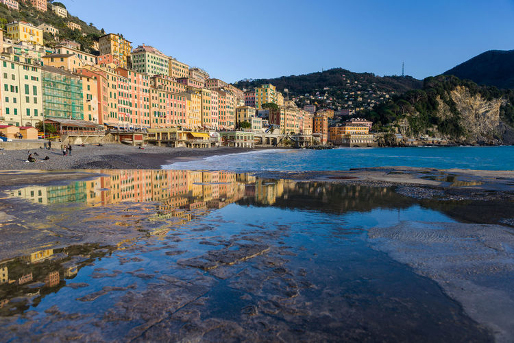 Buildings reflecting in puddle by beach against clear sky