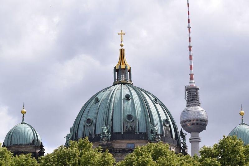 Berlin Dom Fernsehturm Belief Religion Architecture Built Structure Dome Building Exterior Spirituality Travel Destinations Tourism City Travel