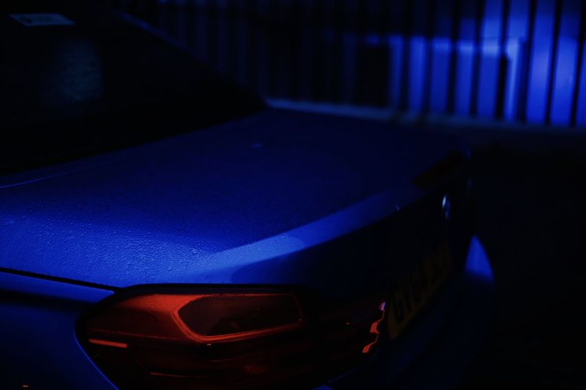 Car. Blue Dark Light Red Transport Transportation Vehicle Relaxing Blue Car Close-up Color Colour Illuminated Neon Night No People Neon Lights TheWeekOnEyeEM