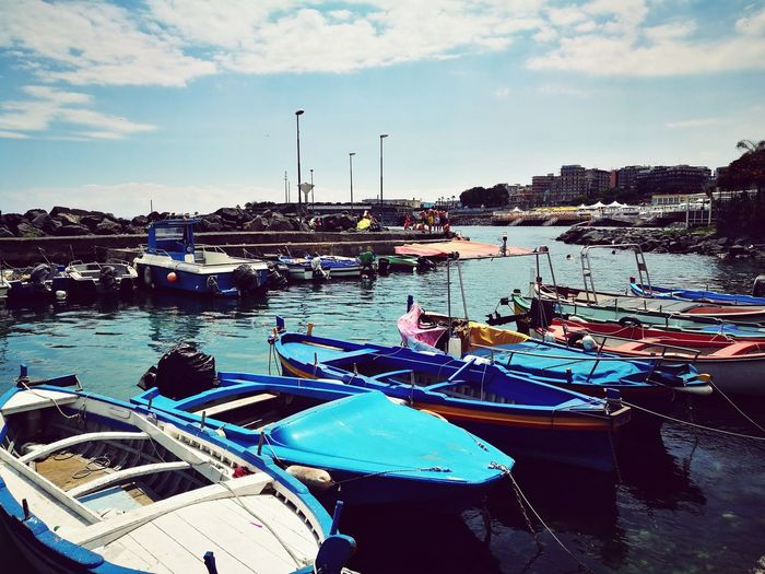 Catania Sicily Mediterrean Sea Boats Dockside Harbor Water Moored Sea Outdoors