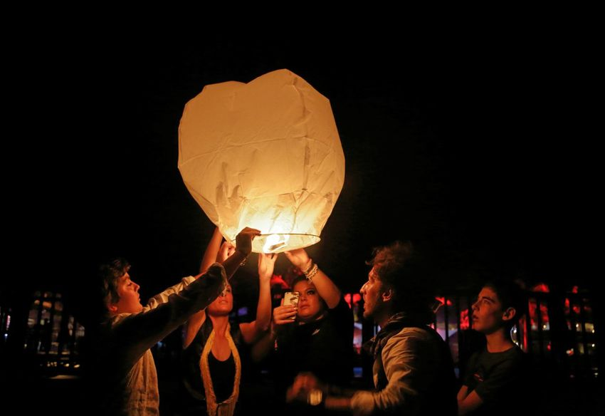 Live For The Story Night People Friendship Performance No Edit/no Filter Fire Balloon Happyness Travel Destinations Balloon EyeEm Best Shots Traveling Light And Contrast Contrast Martinique