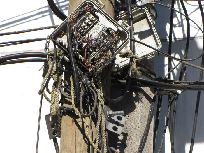 Bad Condition Cables Electric Installation Electrical Wires Mexico City Post Rope Streetphotography