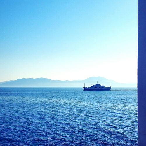 Sea Blue Water Tranquility Nature Scenics Outdoors No People Sky Tranquil Scene Beauty In Nature Clear Sky Nautical Vessel Horizon Over Water Boat Sailing Holidays Summer Greece Travel Let's Go. Together. Travel Destinations Ionian Sea
