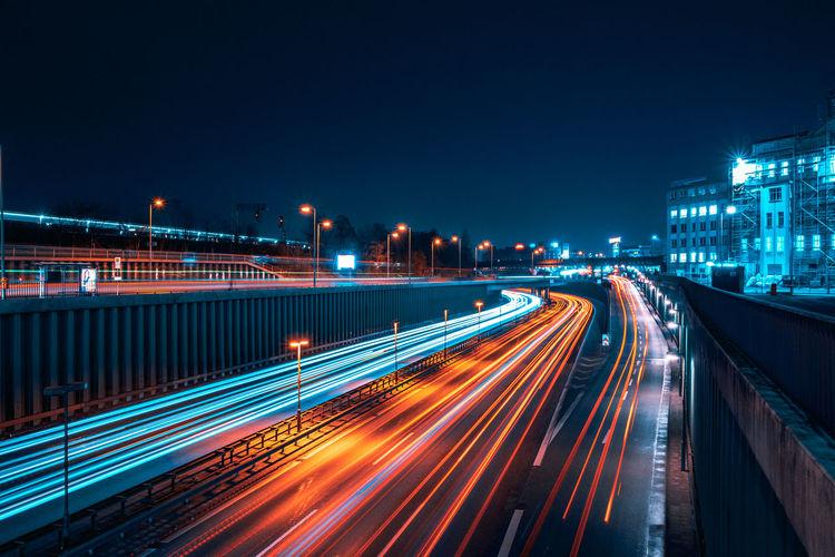 Berlin highway at night