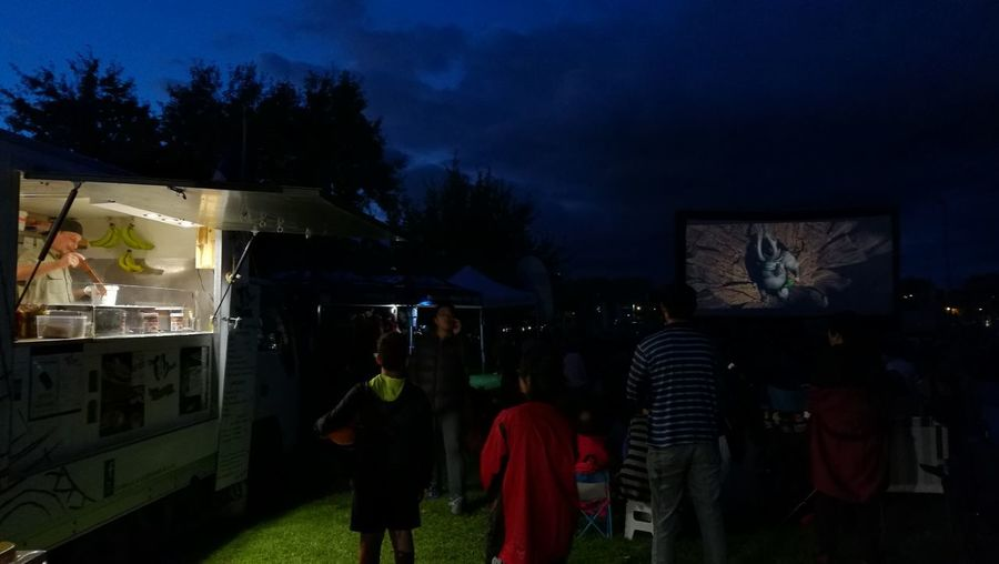 Night Sky Tree Illuminated People Outdoors Adult Adults Only Food Stand Outdoor Movie Nightlife Auckland New Zealand Cinema In Park Hanging Out Happy People Welcome To Black The Photojournalist - 2017 EyeEm Awards