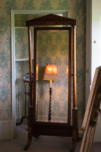 Framed Mirror Mirrored Reflection Room Close-up Edwardian Frame Glowing Indoors  Lamp No People Old-fashioned Stages Wallpaper Wooden