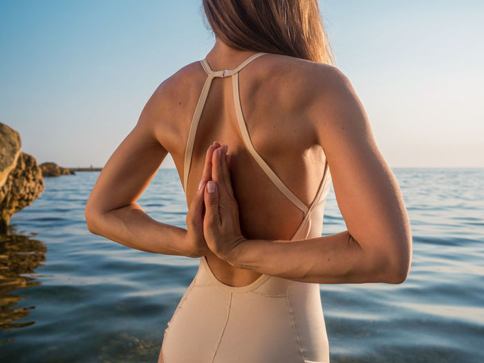 Fashion Kriya Morning Nature Practice Silhouette Yoga Asana Beach Flexibility Leisure Activity Namaskar Ocean Portrait Practicing Relax Sea Sihouette  Sport Stretching Style Sunrise Swimsuit Women Young Adult