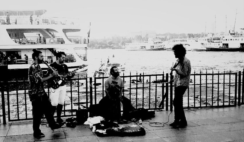 Street Life Music Taking Photos Black And White