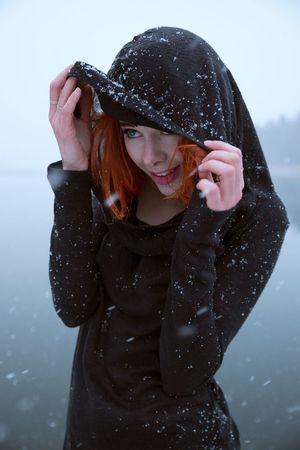 Flakes. Snow Portrait Portrait Of A Woman Redhead Winter Happy Nikond600 Tamron2470 Portrait Photography Snowfall Mysterious Sweden