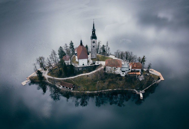 Floating church Bled Mood Drone  Aerial Aerial View Island Water Nautical Vessel Lake Place Of Worship Ancient Spirituality Religion History