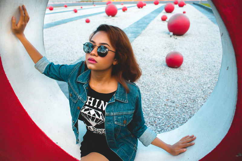 Adult Adults Only Day High Angle View Leisure Activity One Person Only Women Outdoors People Smiling Sunglasses Young Adult Art Is Everywhere The Portraitist - 2017 EyeEm Awards
