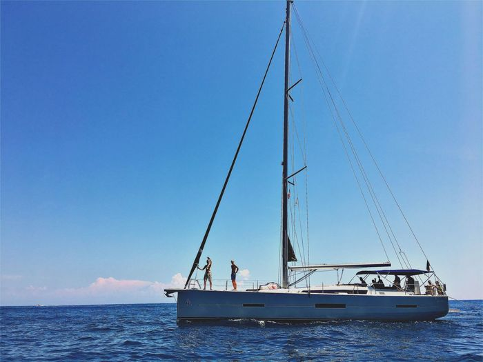 Life. True Life. Be. Ready. Be.Ready EyeEm EyeEm Best Shots EyeEmNewHere Beauty In Nature Blue Clear Sky Day Mast Mode Of Transport Nature Nautical Vessel No People Outdoors Sailboat Sailing Sea Sky Transportation Water