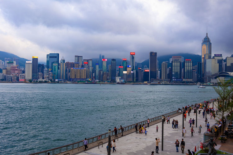 Panoramic view of city buildings at waterfront
