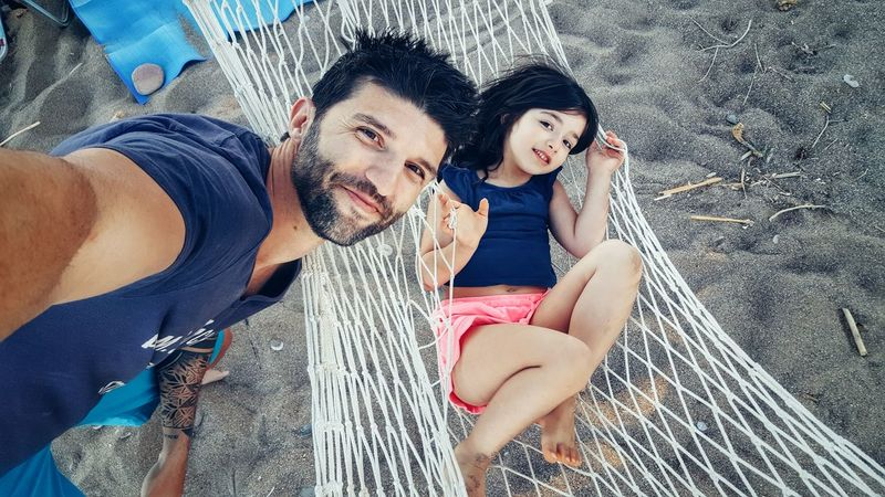 Me And My Daughter Father And Daughter Love Selfie ✌ Selfie-millionaires Beach Life Hammocking Summer Views Beachphotography Hammock Time Sandy Beach Summertime Happy People Smiling Meaningoflife Simple Moment Simple Things In Life Family Time Family Matters