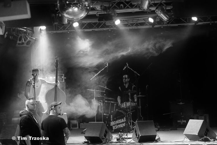 Arts Culture And Entertainment BonBonBoys Concert Hall  Drum Kit Frannzclub Live Event Men Microphone Music Musician Nightlife Only Men Performance Rock Music Sound Recording Equipment Stage - Performance Space Stage Light