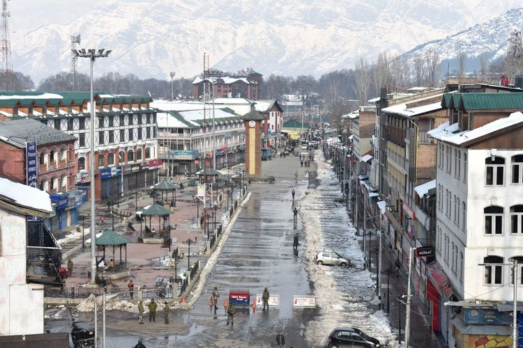 Strike was observed in Srinagar and other parts of Kashmir valley in connection with the sixth death anniversary of Mohammad Afzal Guru on Saturday Kashmir , India Srinagar Kashmir Strike Deathanniversary Police Snow Mountain Snow Mountain Range
