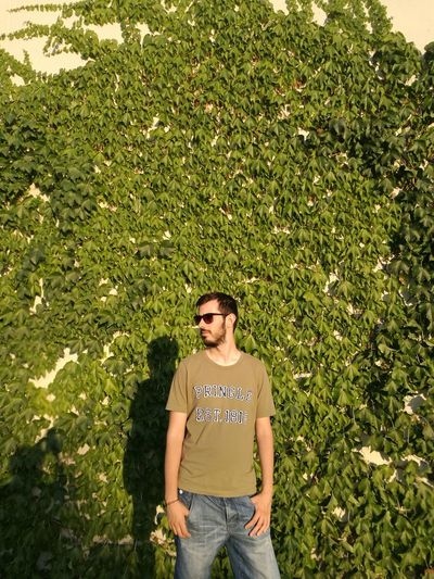 Young Man Wearing Sunglasses Standing Against Creeper Plants