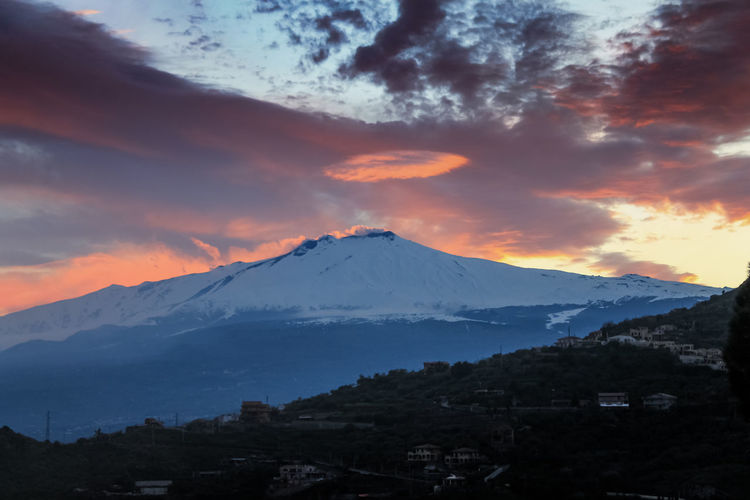 Catania Mountain Sky Scenics - Nature Beauty In Nature Cold Temperature Snow Winter Snowcapped Mountain Landscape Cloud - Sky Sunset Tranquil Scene Environment No People Mountain Peak Tranquility Nature Mountain Range Volcano Outdoors