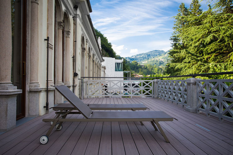 Relaxing Terrace Architecture Balcony Built Structure Day Mountain Nature No People Outdoors Relax Sky Spa Summer Sunbed