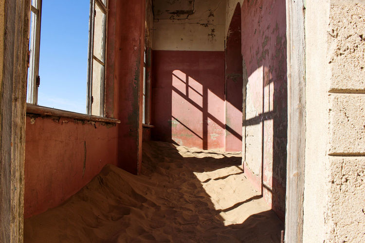 Desert Dunes Lonely Ruins Abandoned Abandoned City Architecture Building Damaged Day Deserted Deterioration Door Entrance House Indoors  No People Old Ruined Rusted Rusty Sand Window