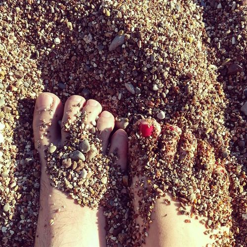 Low Section Personal Perspective Human Foot Overhead View Day Beach Beachsand Sand Barefoot Barefoot Beach Barefoot Couple Close-up Shadow Painted Toes Love