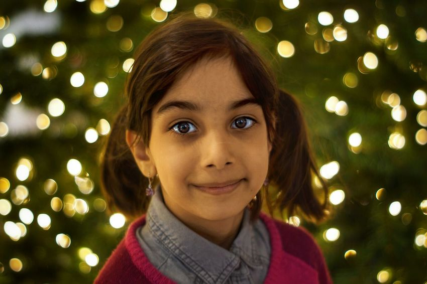 Portrait Child Christmas Tree Afghankids Anissa ❤ Nephew ♡ AfghanGirls Christmas Time Children's Portraits