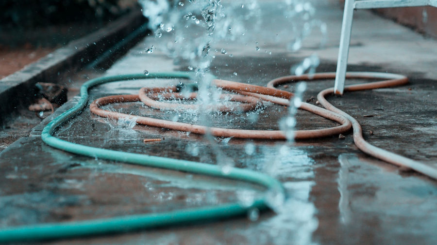 Close-up of water drops on pipe