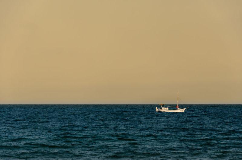 Black Sea Boat Clear Sky Distant Float Horizon Over Water Ocean Sea Seascape Water