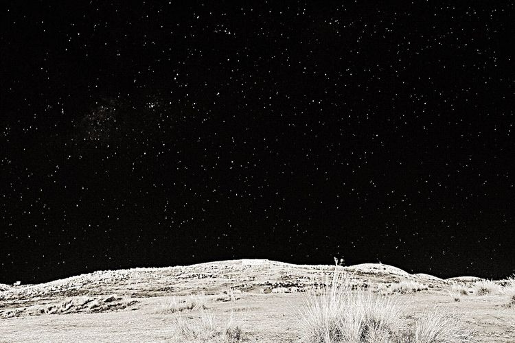 Scenic view of snow against sky at night