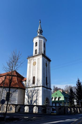 Nowy Kosciol Architecture Built Structure Church Clear Sky Clock Tower Day No People Nowy Kosciol Outdoors Poland Religion
