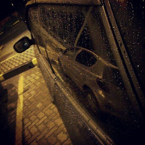 Subaru Evening Rainy Raindrops parking sidemirror reflections webstagram statigram instareflection HTCOneX cold night Nairobi