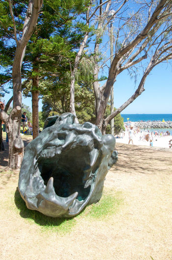 Creature head with mouth and fangs sculpture at Sculptures by the Sea at Cottesloe Beach in Western Australia. Animal Arts And Entertainment ArtWork Beach Carved Cottesloe Creativity Creature Culture Fangs Festival Foreshore HEAD Indian Ocean Interactive  Monster Mouth Nature People Scary Sculpture Sculptures By The Sea Stone Teeth Western Australia