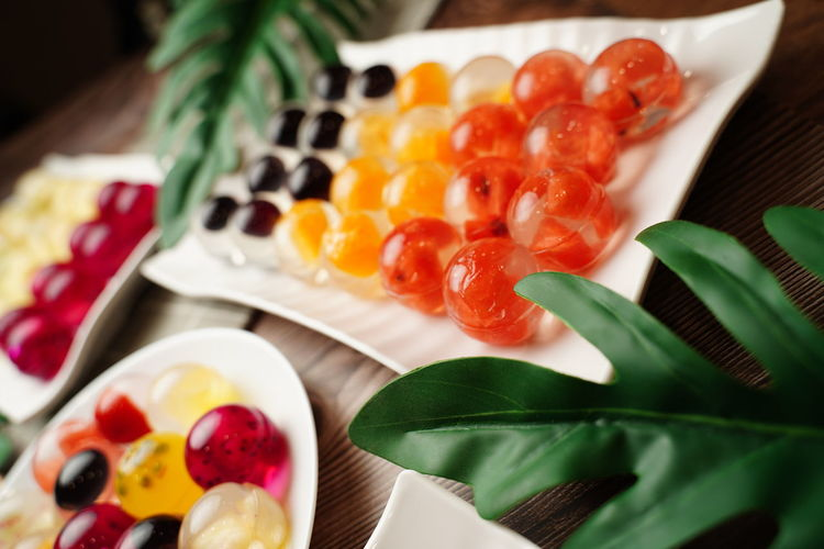 Close-up of multi colored fruits on table