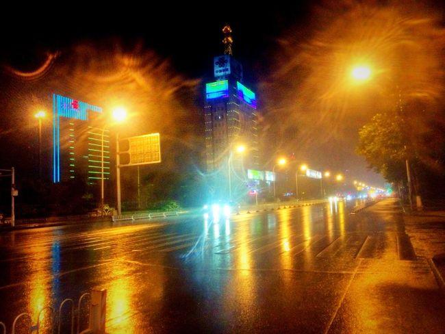 I'm bored.😔😔😔 Boring Bored Rain Rainy Days Wet Road Cityscapes Light Lights