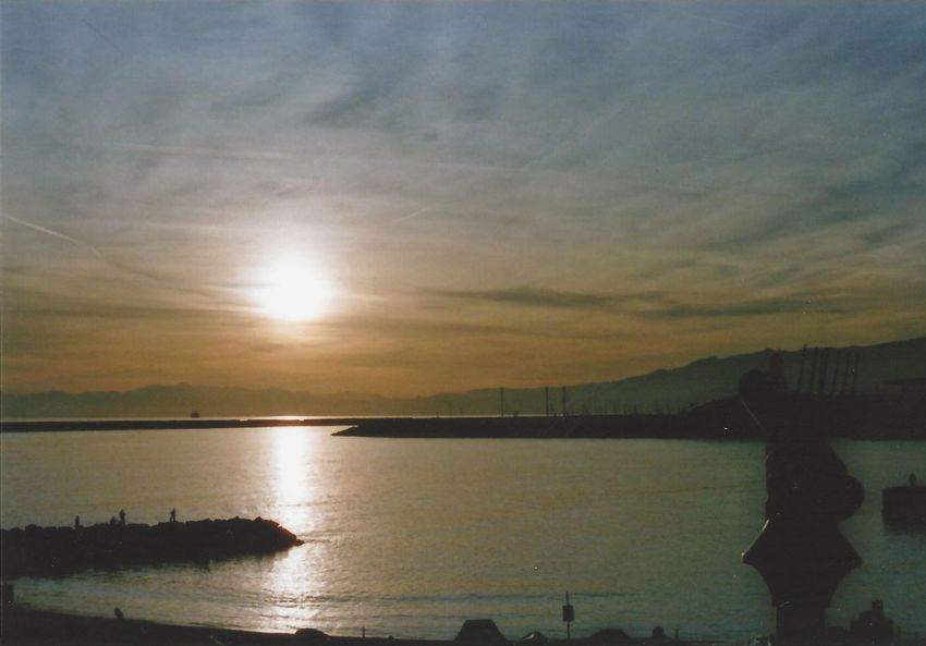 Reflection Sunset Sun Water Sky No People Outdoors Tranquility Scenics Beauty In Nature Sea Shapes Landscape Telescope Film Expired Harbor Genova Welcome To Black Expired Film BYOPaper! The Great Outdoors - 2017 EyeEm Awards Live For The Story EyeEm Selects