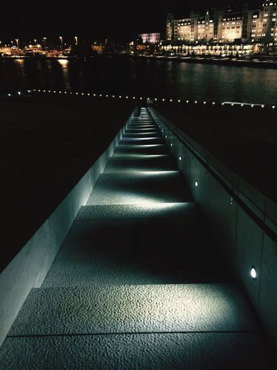 Architecture Night Oslo Oslo Norway Stairs Nightlife Water River No People Travel Travel Photography Illuminated Built Structure The Way Forward Railing Outdoors