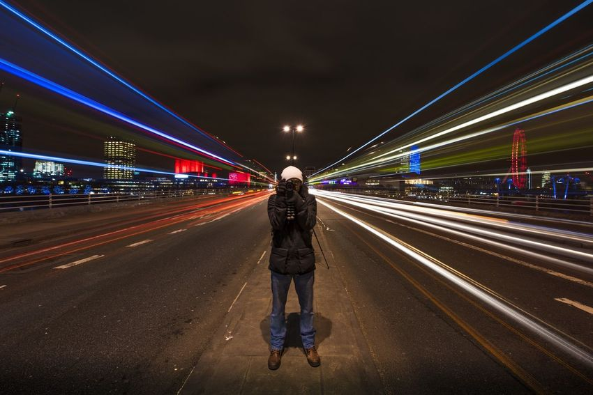 EyeEm Best Shots - Long Exposure EyeEm Best Shots - The Streets Getting Creative Waterloobridge London Photographer Long Exposure City England Travel Multi Colored Motion Modern Light Trail Illuminated Full Frame Diminishing Perspective Blurred Motion Bridge Road Cities At Night Need For Speed On The Way