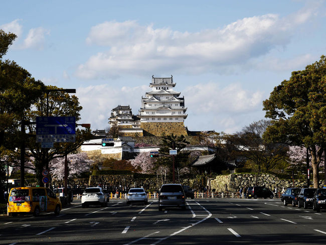 Architecture Building Exterior Built Structure Car City Cloud - Sky Day Himeji Castle Land Vehicle No People Outdoors Road Sky Street Transportation Tree